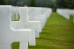 France, Normandy, June 6, 2011 - Graves of soldiers who died during the military operation in 1944 in Normandy. Royalty Free Stock Photography