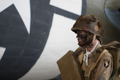 France, Normandy, June 6, 2011 - Mannequin of the American paratrooper during the landing of the Allies in Normandy. Stock Photos