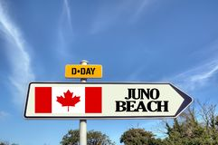 France Normandy Juno beach sign. Road sign indicating Juno Beach. One of the landing beaches of June 06, 1944 in Normandy royalty free stock photo