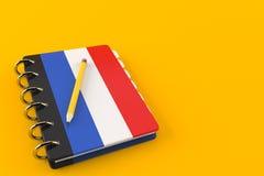 France notepad. Isolated on orange background. 3d illustration Stock Image