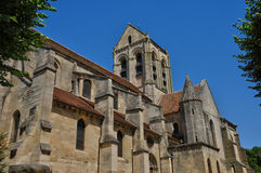 France, the Notre Dame church of Auvers sur Oise Stock Photography