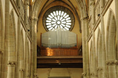 France, Notre Dame des Champs church in Avranches. Normandie, organ of Notre Dame des Champs church in Avranches Royalty Free Stock Photo