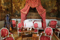 France, old cloth in the classical castle of Villarceaux Stock Image