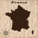 France old map with grunge and crumpled paper. Vector illustration Royalty Free Stock Photography