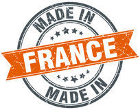 France orange grunge ribbon stamp Stock Photo