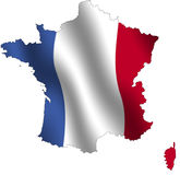 France outline. Outline of France filled with its waving flag Royalty Free Stock Photo