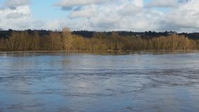 France, the overflowing Loire river close to Nantes. During winter season stock video