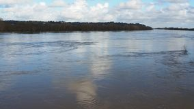France, the overflowing Loire river close to Nantes. During winter season stock footage