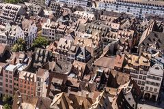 France rooftops across the city of Strasbourg royalty free stock photos