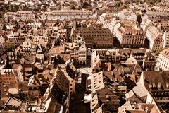 France rooftops across the city of Strasbourg stock images