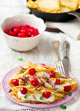 France  pancakes with cherry and cottage cheese Stock Images