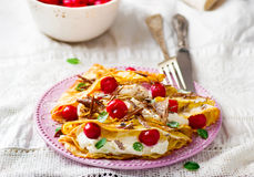 France  pancakes with cherry and cottage cheese Stock Photos