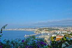 France, panorama of Nice. Nice is with about half a million inhabitants the biggest town in the Côte d'Azur and draws yearly countless tourists. Particularly Royalty Free Stock Image