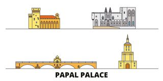 France,Papal Palace, Episcopal Ensemble Avignon Bridge flat landmarks vector illustration. France,Papal Palace. Episcopal Ensemble Avignon Bridge line city royalty free illustration