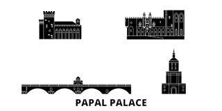 France,Papal Palace, Episcopal Ensemble Avignon Bridge flat travel skyline set. France,Papal Palace, Episcopal Ensemble. France,Papal Palace, Episcopal Ensemble royalty free illustration