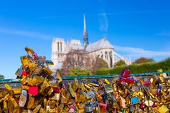france parigi Vista su Notre Dame Cathedral dal ponte Pont fotografie stock