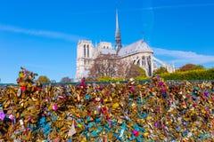 france parigi Vista su Notre Dame Cathedral dal ponte Pont immagini stock libere da diritti
