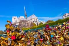 france parigi Vista su Notre Dame Cathedral dal ponte Pont fotografia stock