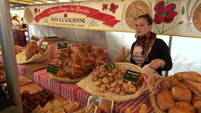 FRANCE, PARIS � MAY 25: french gourmet bread market in Paris street, MAY 25, 2014 stock footage