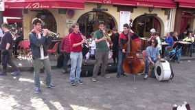 FRANCE, PARIS – MAY 25: Group young musicians playing on Montmartre in Paris, MAY 25, 2014 stock video footage