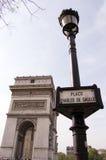 France Paris Arc de Triomphe. The Place Charles de Gaulle, historically known as the Place de lÉtoile, Paris (Square of the Star). The Arc de Triomphe Stock Image