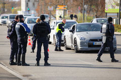 France Paris attacks - border surveillance with Germany Stock Image