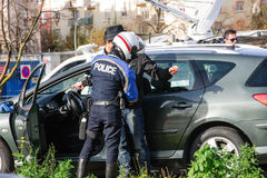 France Paris attacks - border surveillance with Germany. STRASBOURG, FRANCE - NOV 14 2015: French Police checking vehicles on the 'Bridge of Europe' between royalty free stock photos