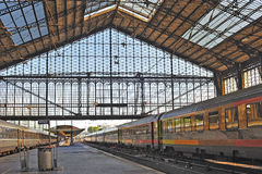 France, Paris: Austerlitz railway station. Is one of the six largest terminus in the city. An inside view with the big glass-roof Royalty Free Stock Images