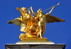 France; Paris ; bronze and golden leaf statue Stock Photos