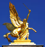 France; Paris ; bronze and golden leaf statue Royalty Free Stock Photos