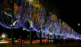 France, Paris: Champs Elysees. France, Paris: famous place, Champs Elysees Avenue at night during christmas time royalty free stock photos