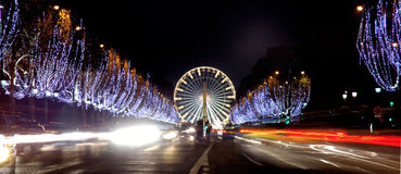 France, Paris: Champs Elysees. France, Paris: famous place, Champs Elysees Avenue at night during christmas time royalty free stock photo