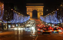 France. Paris. Champs Elysees and Arch de Triomphe. At night stock photography