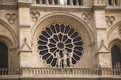 France Paris Church Notre dame. A view of the statues and the big window of the Notre Dame of Paris Stock Photography