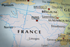 France-Paris in close up on the map. Focus on the name of country Royalty Free Stock Image