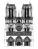 France; Paris; Drawing of Notre Dame. Black and white detailed Drawing of Notre Dame cathedral in paris, france Royalty Free Stock Photo