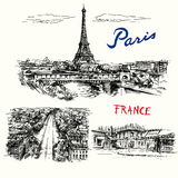 France, Paris, Eiffel tower. Hand drawn  collection Stock Images