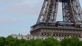 FRANCE, PARIS: Eiffel Tower in the morning time, horizontal pan, close up stock footage