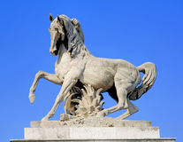 France, Paris: Equestrian statue. France, Paris: blue sky and a stone Equestrian statue in Trocadero royalty free stock photos