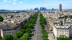 France. Paris. Aerial view of the Avenue of the Great Army Royalty Free Stock Photos