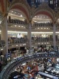 France Paris Galleries Lafayette Interior. Ornate Indoor shopping Mall in Paris Stock Images