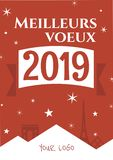 France. Paris. Greeting card. Meilleurs voeux 2019. New year template vector illustration