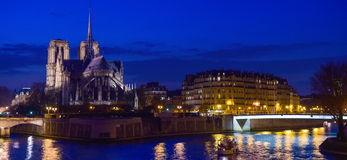 France, Paris, Illuminated Notre Dame de Paris Royalty Free Stock Images