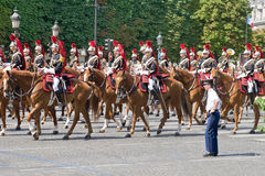 FRANCE, PARIS - JULY 14: The cavalry at a military Royalty Free Stock Photography