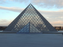 France Paris Louvre Pyramid Pei. The pyramid of Pei can be seen in the courtyard of the Louvre Museum in Paris, France Royalty Free Stock Image