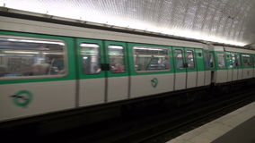 FRANCE, PARIS - MAY 25:  train in Paris metro station. Oldest metro station in Europe. MAY 25, 2014. In Paris, France stock video
