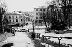 France Paris Montmartre under snow Royalty Free Stock Image