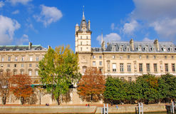 France, Paris: Monument of Paris. Along the Seine river; blue sky and autumnal atmosphere stock image