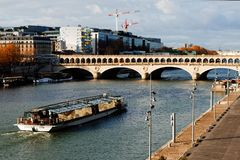 FRANCE, PARIS, 26 November 2017: Bercy Bridge. For cross  Seine River Royalty Free Stock Photography