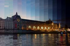 Musee d`Orsay Day to Night Timeslice - Paris royalty free stock photos